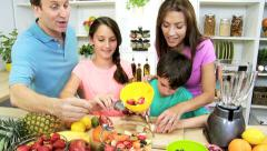 Happy Caucasian Family Group Fresh Fruit Recipe Kitchen Stock Footage