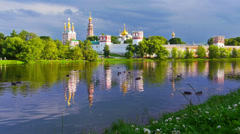 Establishing shot. Novodevichi convent. Moscow. - stock footage
