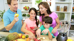 Caucasian Family Fresh Fruit Home Kitchen Stock Footage