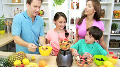 Healthy Lifestyle Caucasian Family Organic Fruit Smoothie Stock Footage