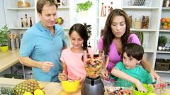 Healthy Lifestyle Caucasian Family Organic Fruit Smoothie Stock Footage