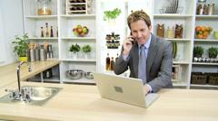 Caucasian Freelance Business Advisor Working Home Laptop News Success Stock Footage