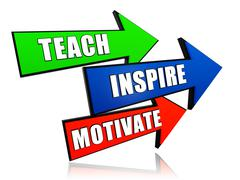 Teach, inspire, motivate in arrows Stock Illustration