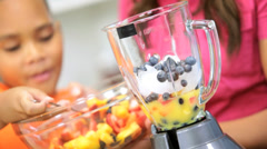 Ethnic Healthy Family Homemade Fresh Fruit Smoothie - stock footage