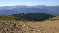 Summer panorama from the observation deck Rose Peak. Krasnaya Polyana. Stock Footage