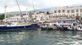 Panorama of the sea mooring in the city HD Footage