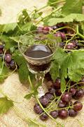 Stock Photo of red wine in wine glass with sweet grapes.