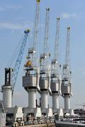 Cranes at the port of Antwerp Stock Photos
