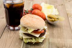 double cheeseburger with ingredients - stock photo