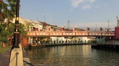 Tourist boats on Melaka River Stock Footage