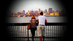 Cute Couple City View Stock Photos