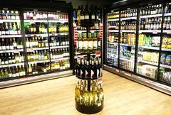 Supermarket aisle of alcohol Stock Photos