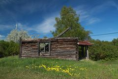 Delapidated log cabin in Sweden - stock photo