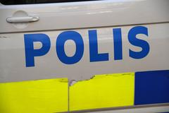 Police car sign in Stockholm Sweden Stock Photos