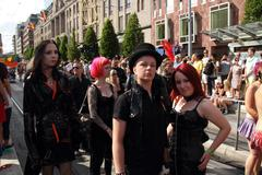 Goth couple pose at Stockholm gay Pride Stock Photos