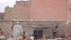 MARRAKECH TANNERY - MEN AT WORK Stock Footage