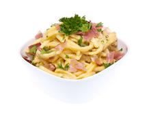 Fresh cooked cheese spaetzle Stock Photos