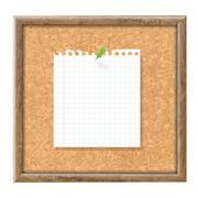 cork board with blank note paper and green pin - stock illustration