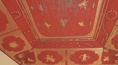 Ceiling murals featuring Burmese horoscope Stock Footage