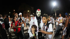 Football fans leave Maracana Stadium after a game - stock footage