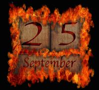 burning wooden calendar september 25. - stock illustration