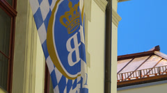 Germany Munich Royal Court Brewery Hofbrauhaus Beer Hall House flag Stock Footage