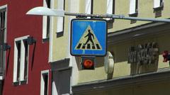 Pedestrian zebra cross traffic light signal Stock Footage
