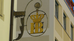 Germany Munich Royal Court Brewery Hofbrauhaus Beer Hall House Logo Stock Footage