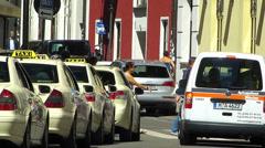 Pedestrian crossing zebra cross in urban downtown Munich traffic Stock Footage