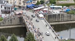 view on the belgium city bouillon with the brocante market - stock photo