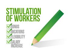 stimulation of workers. check list illustration - stock illustration