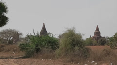 Panorama in Bagan with many temples and stupas Stock Footage