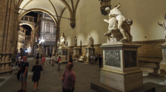 Tourists in Loggia dei Lanzi - time lapse Stock Footage