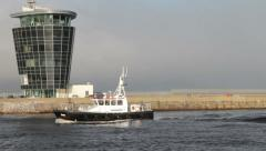 Pilot Boat returning to harbour in Aberdeen, Scotland Stock Footage