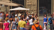 Stock Video Footage of Souvenir stall with tourists - time lapse