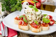 Stock Photo of antipasto (bruschetta and feta)