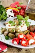 Mixed antipasto on a plate Stock Photos