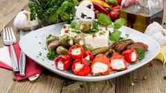 fresh antipasto on a plate - stock photo