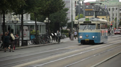 Tram in Gothenburg, Sweden Stock Footage