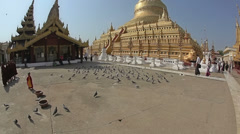 Shwezigon Pagoda - Bagan Stock Footage
