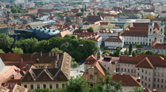 Graz Old town and Kunsthaus Art Museum, Austria Stock Footage