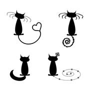 Collection of black cats humorous Stock Illustration