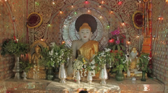 Buddha altar near Bupaya stupa in Bagan Stock Footage