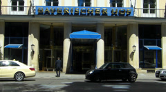 Germany Munich Luxury Bayerischer Hof hotel entrance revolving door Stock Footage