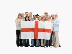 Group of people holding the flag of England Stock Photos