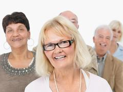 A group of smiling people - stock photo