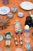 old objects at Marolles district flea market in Brussels - stock photo