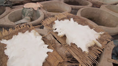 MARRAKECH TANNERY - MEN AT WORK # 6 Stock Footage
