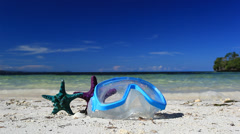Swimming mask and starfish Stock Footage