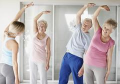 Senior's exercise class - stock photo